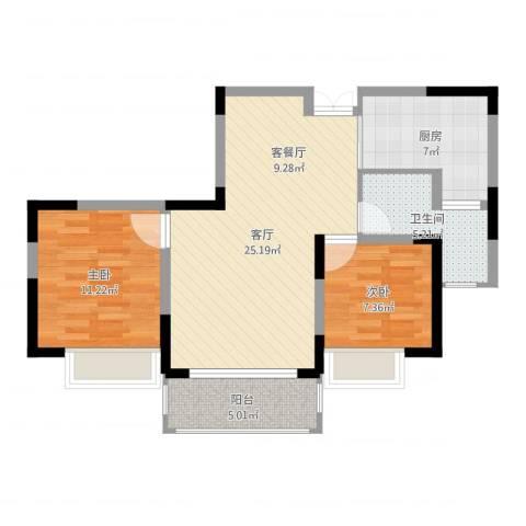 一品苑2室1厅1卫1厨76.00㎡户型图