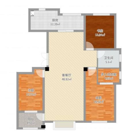 明潭府3室2厅1卫1厨147.00㎡户型图