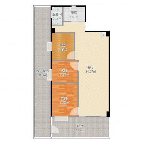 紫林居3室1厅1卫1厨126.00㎡户型图