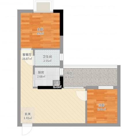 联冠广场2室2厅1卫1厨63.00㎡户型图