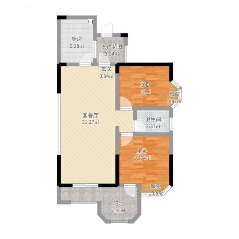 凯泰欧城2室2厅1卫1厨107.00㎡户型图