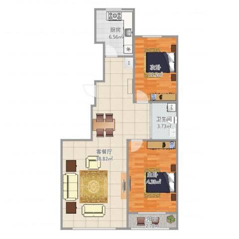 教师公寓2室2厅1卫1厨97.00㎡户型图