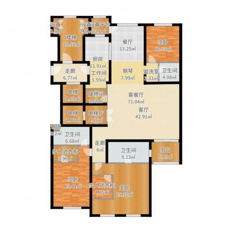 大华清水湾花园三期华府樟园3室2厅3卫1厨266.00㎡户型图