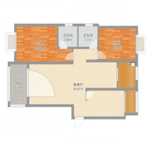 伴山尊品2室2厅3卫1厨112.00㎡户型图