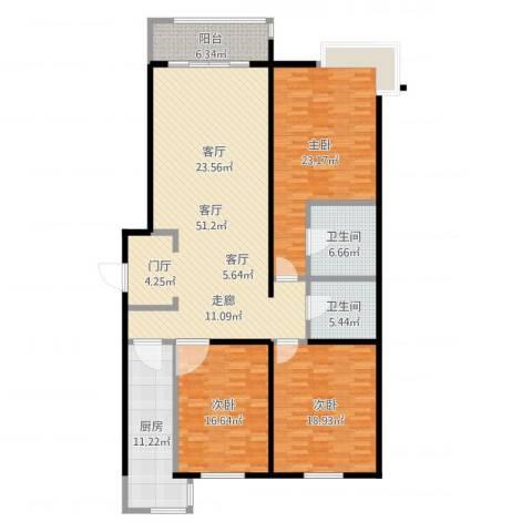 润达万科金域蓝湾3室1厅2卫1厨175.00㎡户型图