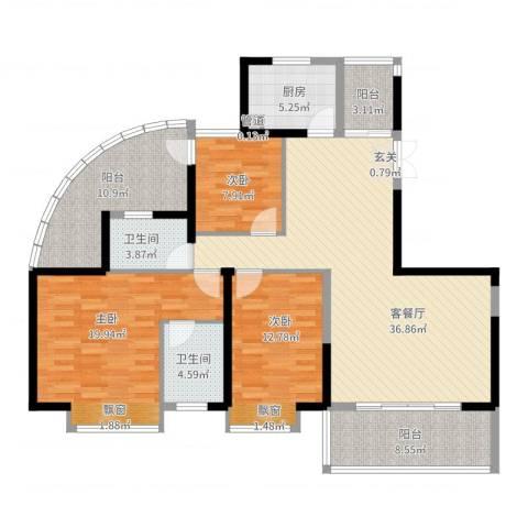 盛世华府3室2厅2卫1厨162.00㎡户型图