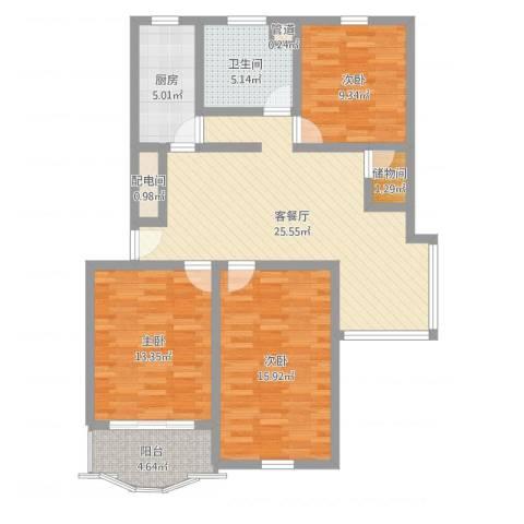 岭南苑四期3室2厅1卫1厨102.00㎡户型图