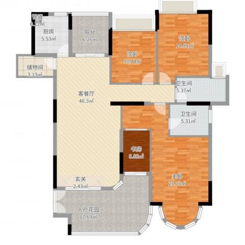 珠光御景湾4室2厅2卫1厨196.00㎡户型图