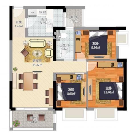 金沙・山海名门3室2厅1卫1厨98.00㎡户型图