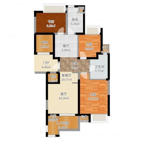 百乐广场3室2厅1卫1厨106.00㎡户型图