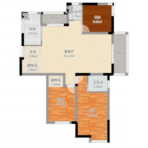 金王府3室2厅2卫1厨124.00㎡户型图