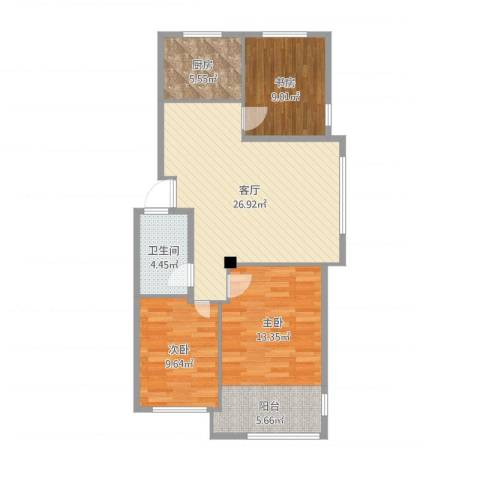东发现代城山水园3室1厅1卫1厨93.00㎡户型图