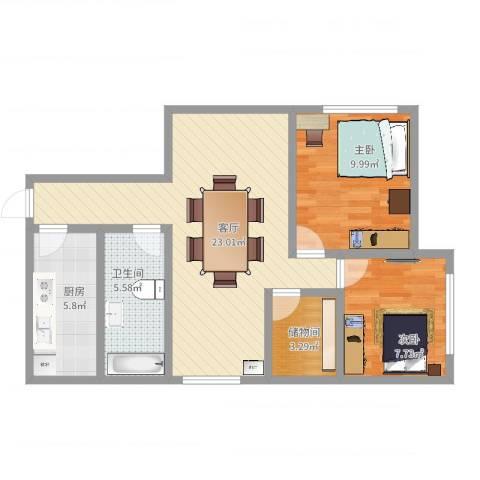 嘉里不夜城公寓2室1厅1卫1厨69.00㎡户型图