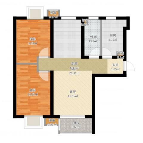 夏威夷・蓝湾2室1厅1卫1厨74.00㎡户型图