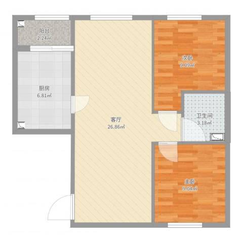 金泰丽富嘉园2室1厅1卫1厨72.00㎡户型图
