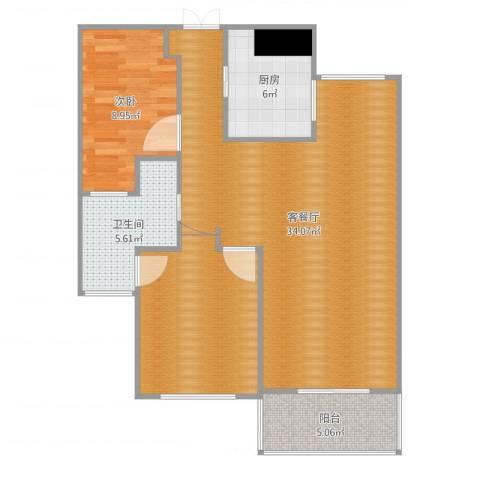 绿地望海新都(绿地领御)1室2厅1卫1厨71.44㎡户型图