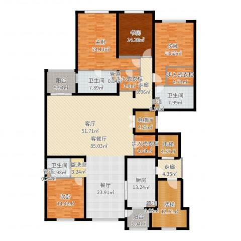 大华清水湾花园三期华府樟园4室2厅3卫1厨299.00㎡户型图