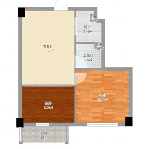 菁英汇2室2厅1卫1厨63.00㎡户型图