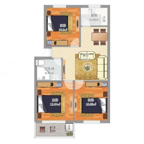 云石小区3室1厅1卫1厨81.00㎡户型图