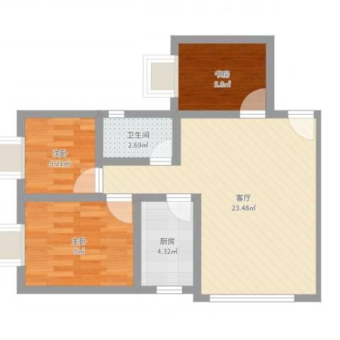 香溪庄3室1厅1卫1厨63.00㎡户型图