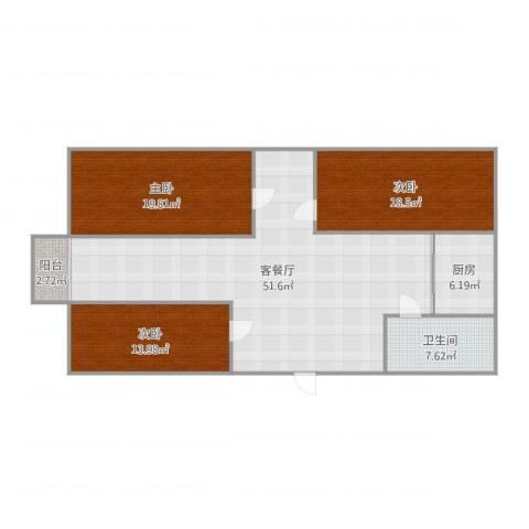 葑谊新村3室2厅1卫1厨151.00㎡户型图