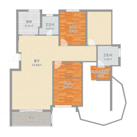 清泉花园2室1厅2卫1厨127.00㎡户型图