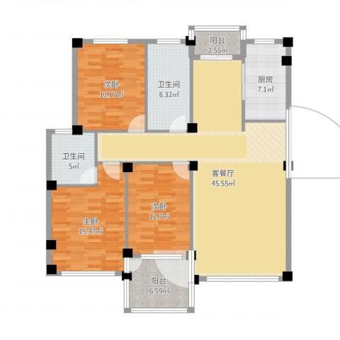 金润花园三期3室2厅2卫1厨146.00㎡户型图