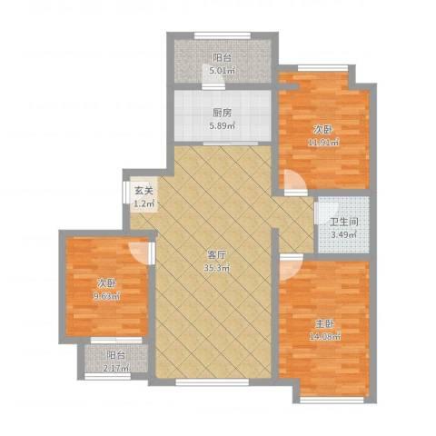 天成一品3室1厅1卫1厨109.00㎡户型图