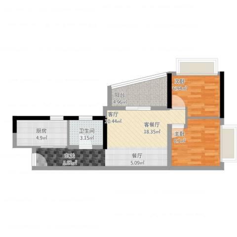 置业广场2室2厅1卫1厨68.00㎡户型图