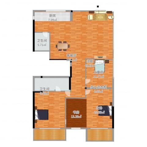 蔚蓝国际1室2厅3卫1厨230.00㎡户型图