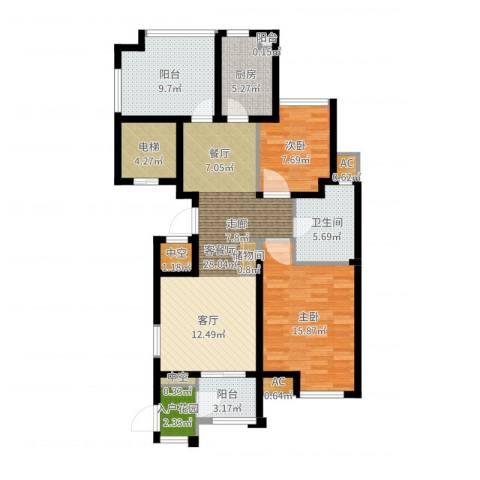 百乐广场2室2厅1卫1厨106.00㎡户型图