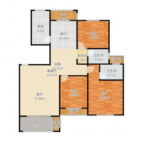 遂平建业森林半岛3室2厅2卫1厨153.00㎡户型图