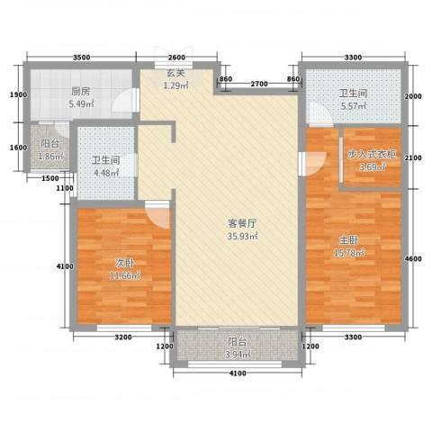 宏大观园2室2厅2卫1厨116.00㎡户型图