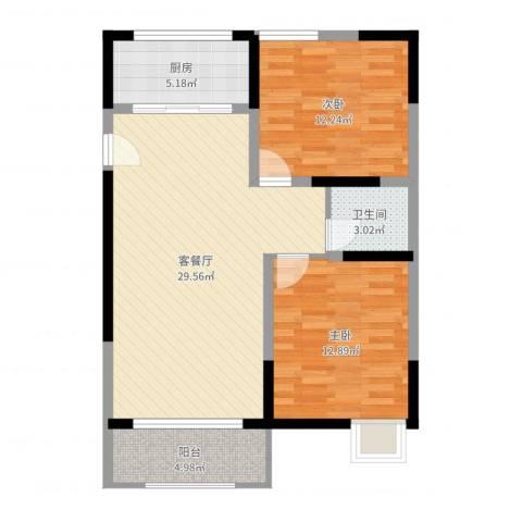 联芳花园2室2厅1卫1厨85.00㎡户型图