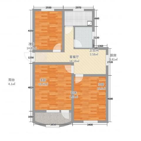 东陆新村六街坊3室2厅1卫1厨83.00㎡户型图