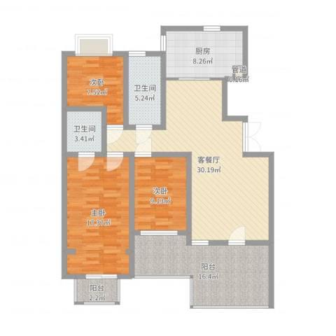 豪绅嘉苑3室2厅2卫1厨125.00㎡户型图