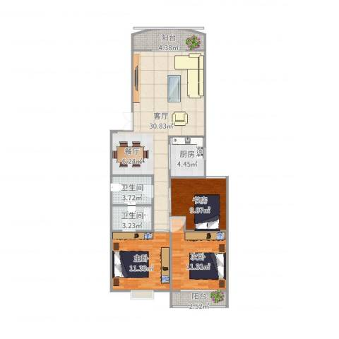 玫瑰山庄3室1厅2卫1厨101.00㎡户型图