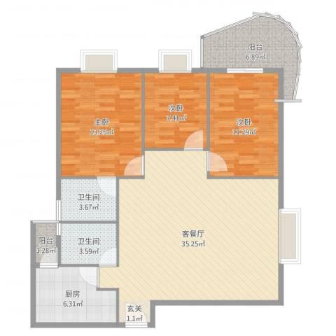罗宾森广场3室2厅2卫1厨111.00㎡户型图