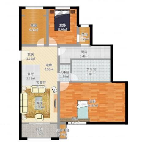 早安北京2室2厅1卫1厨115.00㎡户型图
