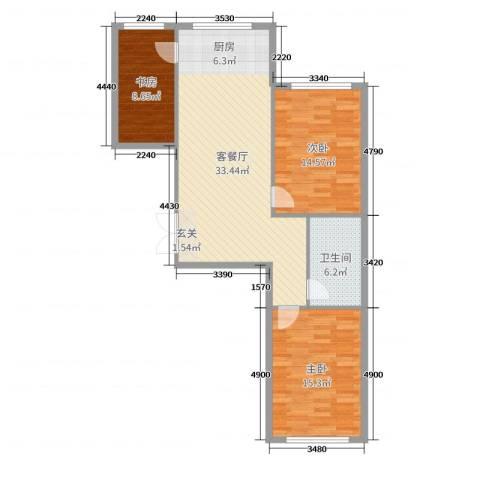 七彩时代广场3室2厅1卫0厨97.00㎡户型图