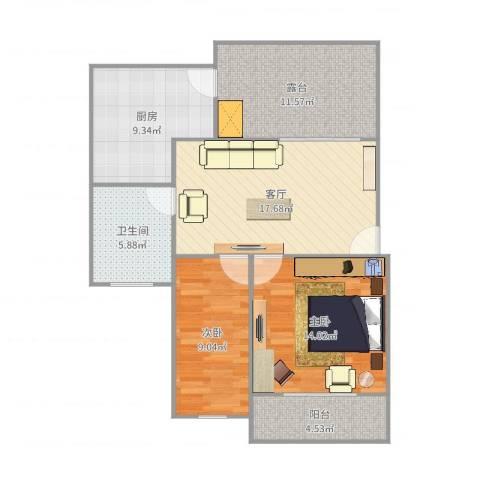 298102嘉业阳光水韵2室1厅1卫1厨90.00㎡户型图