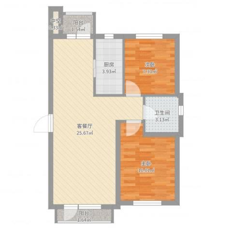 龙王塘一号2室2厅1卫1厨67.00㎡户型图