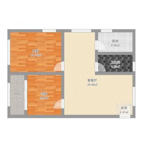 沛县帝都大厦2室2厅1卫1厨84.00㎡户型图