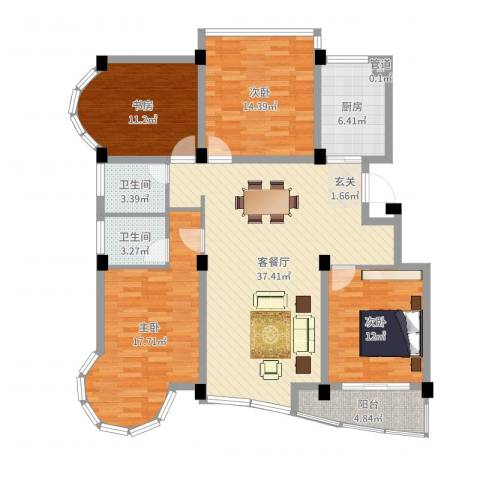 昆山花园4室2厅2卫1厨138.00㎡户型图