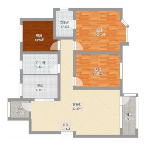 美域澜苑3室2厅2卫1厨111.00㎡户型图