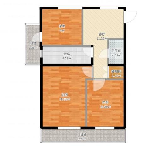 车道沟南里3室1厅1卫1厨83.00㎡户型图
