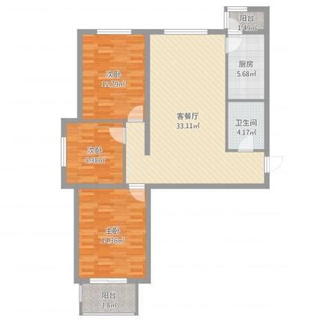 鑫鼎银河湾3室2厅1卫1厨105.00㎡户型图