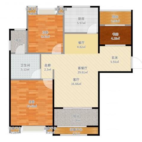 新里米兰公寓3室2厅1卫1厨102.00㎡户型图