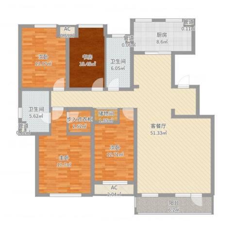 万科金域蓝湾4室2厅2卫1厨173.00㎡户型图