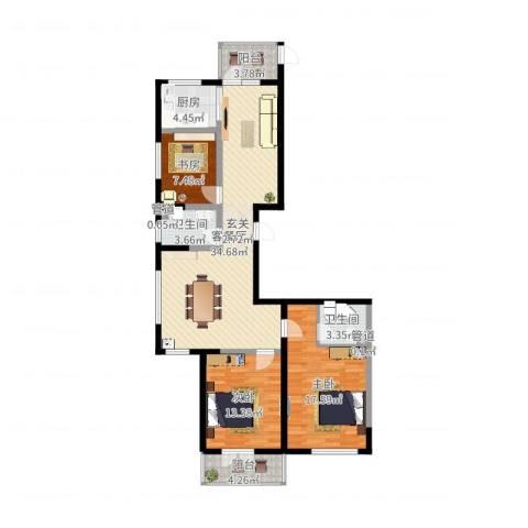 滨西花园二期3室2厅2卫1厨116.00㎡户型图
